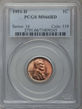 Lincoln Cents, 1951-D 1C MS66 Red PCGS, and a 1951-S 1C MS66 Red PCGS.... (Total: 2 coins)