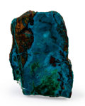 Lapidary Art:Carvings, Polished Chrysocolla Slab. Bagdad Copper Mine. Yavapai County.Arizona, USA. 2.51 x 1.66 x 0.27 inches (6.38 x 4.22 x 0.68...