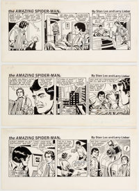 Larry Lieber The Amazing Spider-Man Daily Comic Strip Original Art Group of 3 (King Features Syndicate, 1981).... (Total...