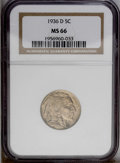 Buffalo Nickels: , 1936-D 5C MS66 NGC. NGC Census: (435/12). PCGS Population(477/55).Mintage: 24,814,000. Numismedia Wsl. Price: $184.(#3978...