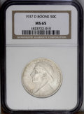 Commemorative Silver: , 1937-D 50C Boone MS65 NGC. NGC Census: (174/120). PCGS Population(245/180).Mintage: 2,506. Numismedia Wsl. Price: $300. (#...