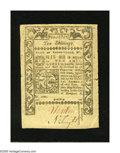 Colonial Notes:Rhode Island, Rhode Island May 1786 10s Extremely Fine. This is a scarce notethat has a 2mm and a 9mm tear at the bottom and top of its c...