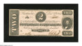 Confederate Notes:1862 Issues, T54 $2 1862. Not a hint of circulation is found on this no periodsafter plate letters Deuce. The top and bottom margins are...