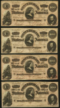 Confederate Notes:1864 Issues, T65 $100 1864 PF-2 Cr. 493 Four Examples.. ... (Total: 4 notes)