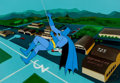 Animation Art:Production Cel, The Adventures of Batman Production Cel and Master PaintedBackground (Filmation, 1977)....
