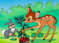 Animation Art:Production Cel, Bambi and Thumper Production Cel and Master Painted Background(Walt Disney, c. 1970s)....