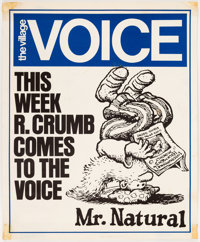 Robert Crumb - The Village Voice Promo Poster featuring Mr. Natural (Village Voice, c. 1970s)