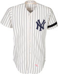 Baseball Collectibles:Uniforms, 1979 Yogi Berra Game Worn New York Yankees Coach's Jersey withMunson Memorial Band, MEARS A9 -- Photo Matched....