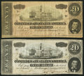 Confederate Notes:1864 Issues, T67 $20 1864 PF-3; PF-12 Cr. 505; Cr. 512.. ... (Total: 2 notes)
