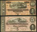 Confederate Notes:Group Lots, T68 $10 1864 PF-1 Cr. 540;. T69 $5 1864 PF-5 Cr. 560.. ... (Total:2 notes)