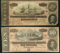 Confederate Notes:Group Lots, T67 $20 1864 PF-30 Cr. 530. T68 $10 1864 PF-31 Cr. 549A.. ...(Total: 2 notes)