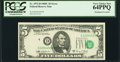 Error Notes:Shifted Third Printing, Fr. 1972-D $5 1969C Federal Reserve Note. PCGS Very Choice New 64PPQ.. ...