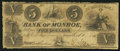 Obsoletes By State:Michigan, Monroe, MI- Bank of Monroe $5 Oct. 6, 1835. ...