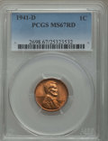 Lincoln Cents: , 1941-D 1C MS67 Red PCGS. PCGS Population: (213/0). NGC Census: (928/0). Mintage 128,700,000. ...