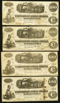 Confederate Notes:1862 Issues, T40 $100 1862 PF-1 Cr. 298 Four Examples.. ... (Total: 4 notes)