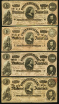 Confederate Notes:1864 Issues, T65 $100 1864 Four Examples.. ... (Total: 4 notes)