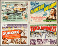 """Movie Posters:War, Dunkirk & Others Lot (MGM, 1958). Title Lobby Cards (4) (11"""" X14""""). War.. ... (Total: 4 Items)"""