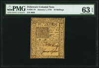 Delaware January 1, 1776 10s PMG Choice Uncirculated 63 EPQ