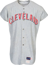 1970 Ray Fosse Game Worn Cleveland Indians Jersey--Possibly Worn During Rose Collision