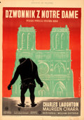 "Movie Posters:Horror, The Hunchback of Notre Dame (RKO, 1948). First Post-War Release Polish One Sheet (24"" X 34"") Jan Mucharski Artwork.. ..."