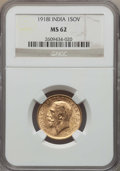 India:British India, India: British India. George V gold Sovereign 1918-I MS62 NGC,...