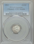 Seated Half Dimes: , 1861 H10C -- Cleaning -- PCGS Genuine. UNC Details. NGC Census: (2/456). PCGS Population: (10/364). CDN: $120 Whsle. Bid fo...