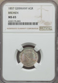 German States:Bremen, German States: Bremen. Free City 6 Grote 1857 MS65 NGC,...