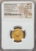Ancients:Byzantine, Ancients: Justin II (565-578). AV solidus (4.47 gm). NGC MS 5/5 -4/5....
