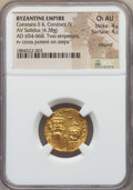 Ancients:Byzantine, Ancients: Constans II & Constantine IV (654-668). AV solidus(4.38 gm). NGC Choice AU 4/5 - 4/5, clipped....