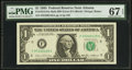 Fr. 1913-F $1 1985 Mule Federal Reserve Note with Back Plate Number 129. PMG Superb Gem Unc 67 EPQ