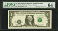 Error Notes:Shifted Third Printing, Fr. 1921-D $1 1995 Federal Reserve Note. PMG Choice Uncirculated 64 EPQ.. ...