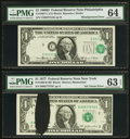 Error Notes:Error Group Lots, Fr. 1907-C $1 1969D Federal Reserve Note. PMG Choice Uncirculated64; Fr. 1909-B $1 1977 Federal Reserve Note. PMG Choice Unci...(Total: 2 notes)