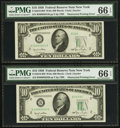 Error Notes:Obstruction Errors, Fr. 2010-B $10 1950 Wide Federal Reserve Notes. Two ConsecutiveExamples. PMG Gem Uncirculated 66 EPQ.. ... (Total: 2 notes)