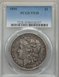 Morgan Dollars: , 1894 $1 VF30 PCGS. PCGS Population: (231/4405). NGC Census: (132/2924). Mintage 110,972. . From The RMW Collection...