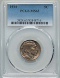 Buffalo Nickels: , 1914 5C MS63 PCGS. PCGS Population: (444/1306). NGC Census: (321/705). CDN: $65 Whsle. Bid for problem-free NGC/PCGS MS63. ...