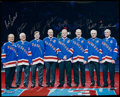 Hockey Collectibles:Photos, New York Rangers Greats Multi-Signed Oversized Photograph. ...