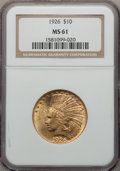 Indian Eagles: , 1926 $10 MS61 NGC. NGC Census: (4348/35917). PCGS Population: (2956/30516). Mintage 1,014,000. ...