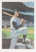 Autographs:Photos, 1990's Mickey Mantle Signed Oversized Lithograph from Mantle's Restaurant. ...