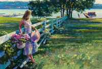 Howard Behrens (American, 1933-2014) By the White Fence Oil on canvas 26 x 52 inches (66.0 x 132