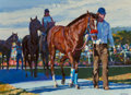 Fine Art - Painting, American, Howard Behrens (American, 1933-2014). Last Race. Oil oncanvas. 32-1/2 x 44-1/2 inches (82.6 x 113.0 cm). Signed lower r...