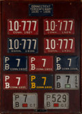 Decorative Arts, American, An Early Connecticut License Plate Display, circa 1927-1956. 43inches high x 30-3/4 inches wide (109.2 x 78.1 cm) (overall)...