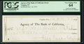 Obsoletes By State:Nevada, Virginia, NV- Agency of the Bank of California $2000.00 Nov. 22, 1875 Check. ...