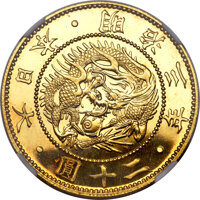 Featured item image of Japan: Meiji gold Proof 20 Yen Year 3 (1870) PR66 Cameo NGC,...