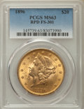 Liberty Double Eagles, 1896 $20 Repunched Date, FS-301, MS63 PCGS. PCGS Population: (34/6). NGC Census: (28/12). CDN: $1,350 Whsle. Bid for proble...