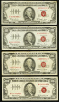 Small Size:Legal Tender Notes, Fr. 1550 $100 1966 Legal Tender Notes. Three Examples. Fine-VF or Better;. Fr. 1551 $100 1966A Legal Tender Note. Fine-VF.. ... (Total: 4 notes)