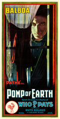 "Movie Posters:Serial, Who Pays? (Pathé, 1915). Three Sheet (41"" X 81"") Chapter 10 --""Pomp of Earth."". ..."