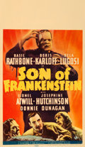 "Movie Posters:Horror, Son of Frankenstein (Universal, 1939). Midget Window Card (8"" X14"").. ..."