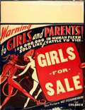 "Movie Posters:Exploitation, Girls for Sale (Bud Pollard Productions, 1930s). Jumbo Window Card(21.25"" X 27.5"").. ..."