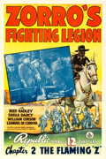 "Movie Posters:Serial, Zorro's Fighting Legion (Republic, 1939). One Sheet (27"" X 41"")Chapter 2 -- ""The Flaming Z."". ..."