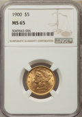 Liberty Half Eagles: , 1900 $5 MS65 NGC. Pop (225/30), CDN Collector Price ($1740.00),CCDN Price ($1375.00), Trends ($2000.00), CAC (46/10)